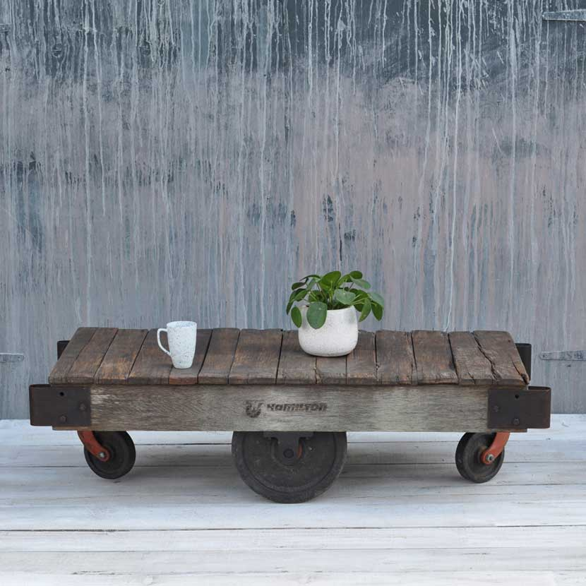 Vintage Industrial Factory Wheeled Cart Coffee Table