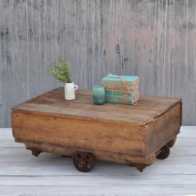 Old Industrial Cart Coffee Table: Vintage Industrial Large Factory Wheeled Cart Coffee Table