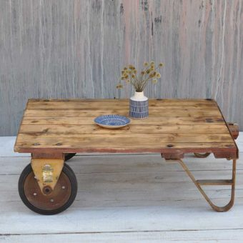 Wheeled Rustic Small Coffee Table Cart Industrial Vintage