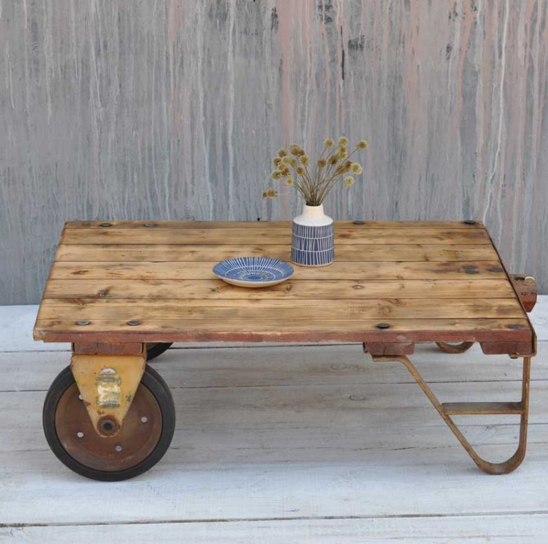 Small Retro Coffee Table Uk: Vintage Rustic Factory Small Industrial Cart Coffee Table