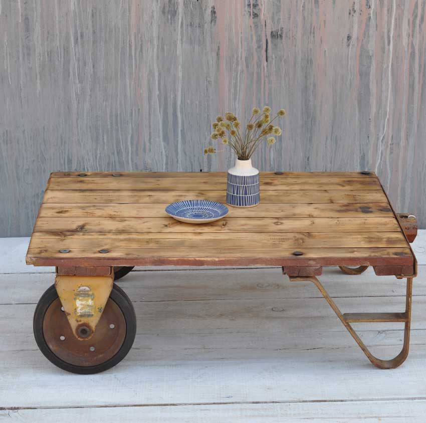 Vintage Rustic Factory Small Industrial Cart Coffee Table