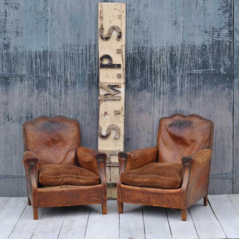French Art Deco Moustache Leather Vintage Club Chair