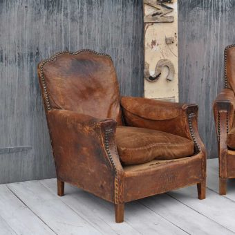 French Art Deco Style Moustache Leather Vintage Club Chair