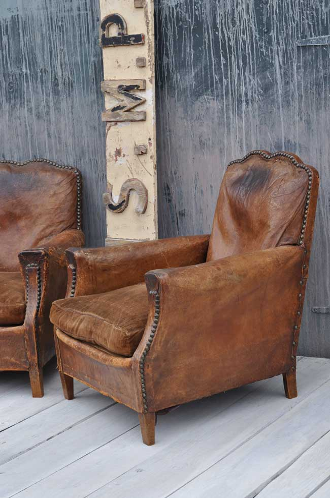 French Art Deco Moustache Leather Vintage Club Chair