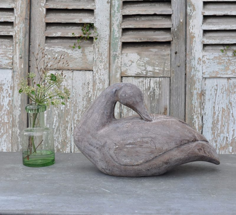 Antique Carved Wooden Swan Casting Mould - Sleeping