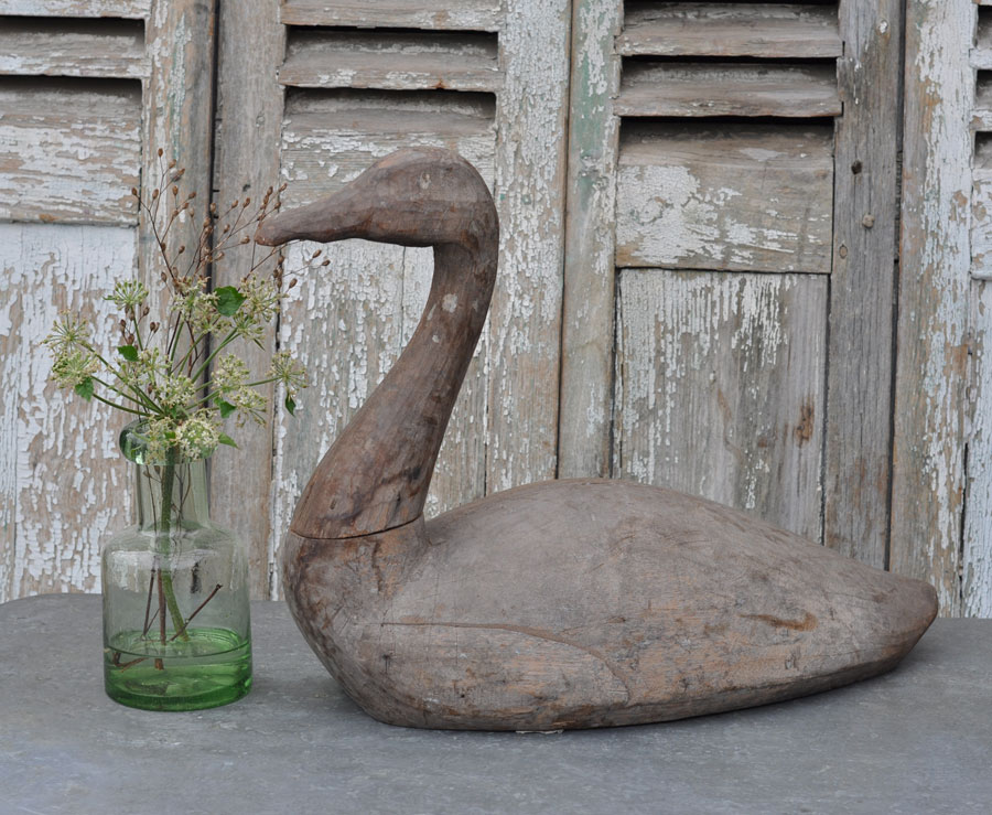 Antique Carved Wooden Swan Casting Mould – Swimming