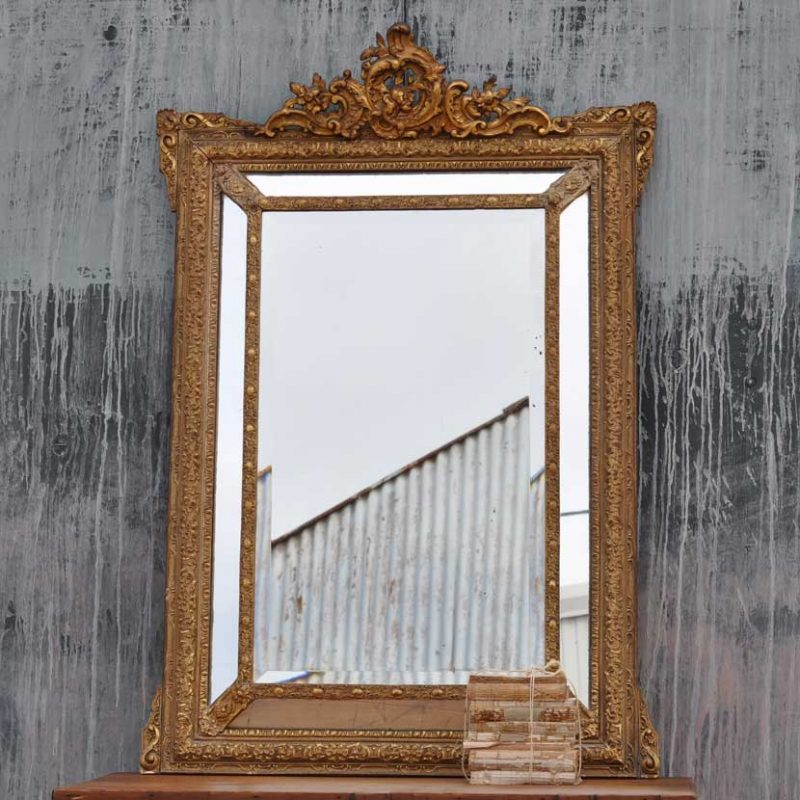 Antique French Crested Ornate Gesso Framed Bevelled Mirror