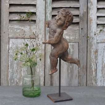 Antique Hand Carved Wooden Cherub On Stand