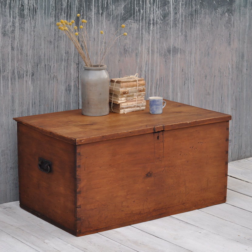 Pine Coffee Table Trunk: Antique Pine Blanket Box Chest Trunk Large Coffee Table
