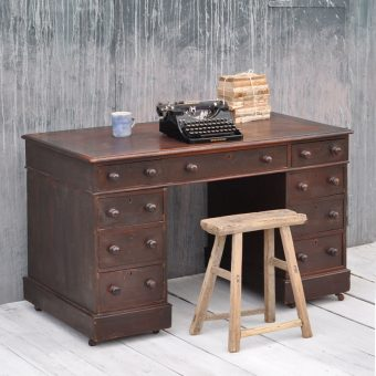Antique Writing Desk With Leather Inlay Top