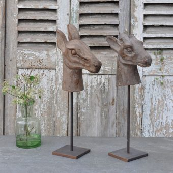 Hand Carved Antique Wooden Deer Head Model On Stand