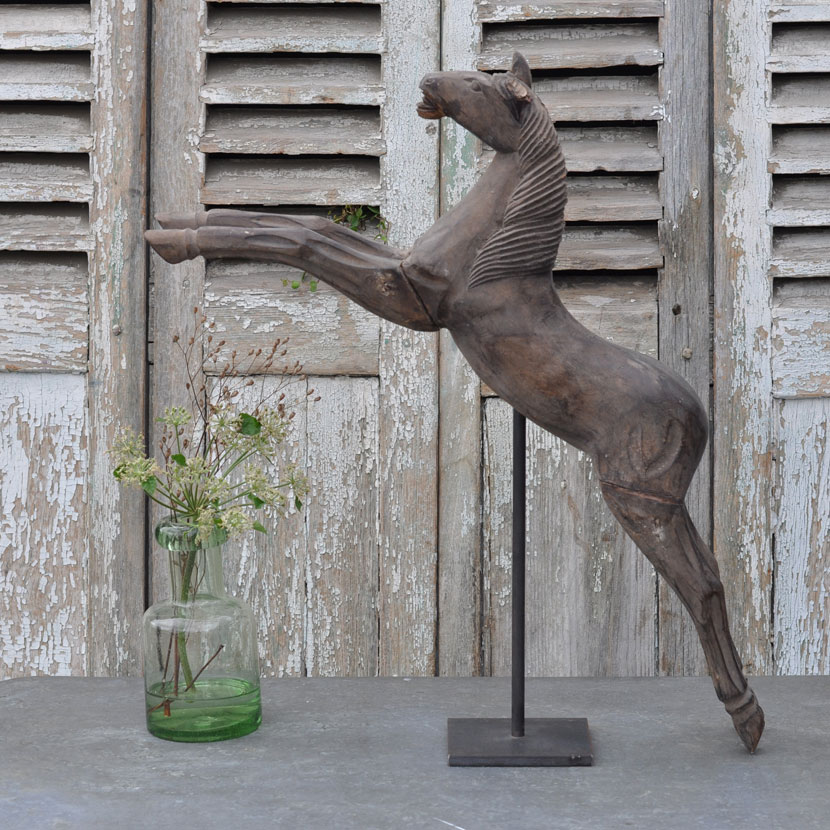 Hand Carved Antique Wooden Leaping Horse Model Maker's Mould