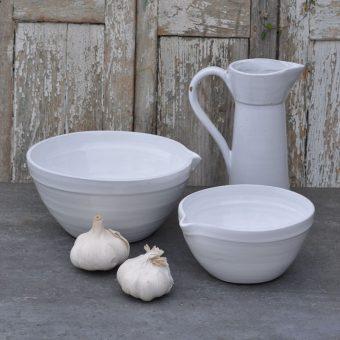 Hand made white ceramic mixing bowls and jug