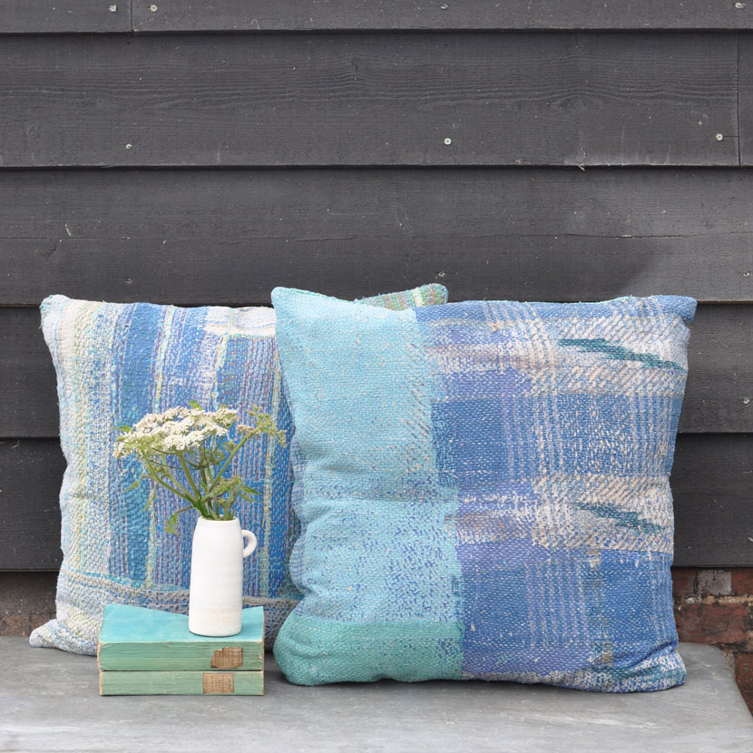 Kantha Fabric Cushion Hand Stitched From Vintage Textiles