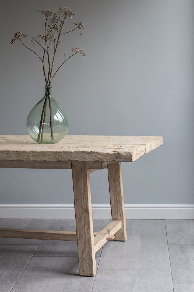 Reclaimed Elm Rustic Trestle Dining Table Home Barn