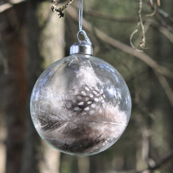 Christmas glass bauble with dotted feathers inside
