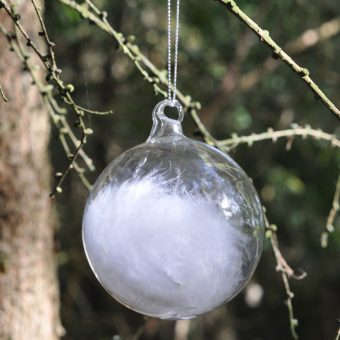 Christmas glass bauble with white feathers inside