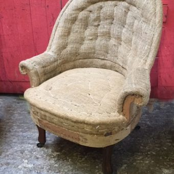Deconstructed Small Hessian Tub Chair