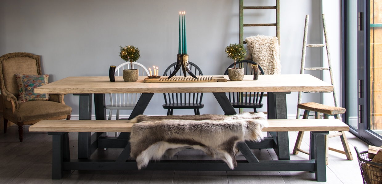 Reclaimed Rustic Elm Dining Table from Home Barn