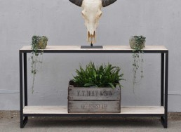 Industrial Steel Leg Console with Reclaimed timber
