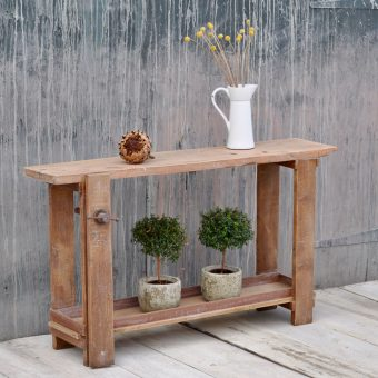 Small vintage workbench console table