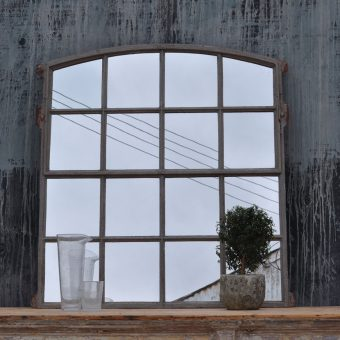 Vintage industrial warehouse window mirror arched