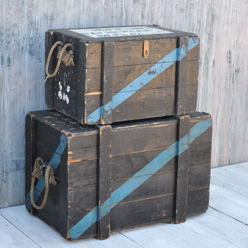 Vintage Military Wooden Trunk Home Barn Vintage
