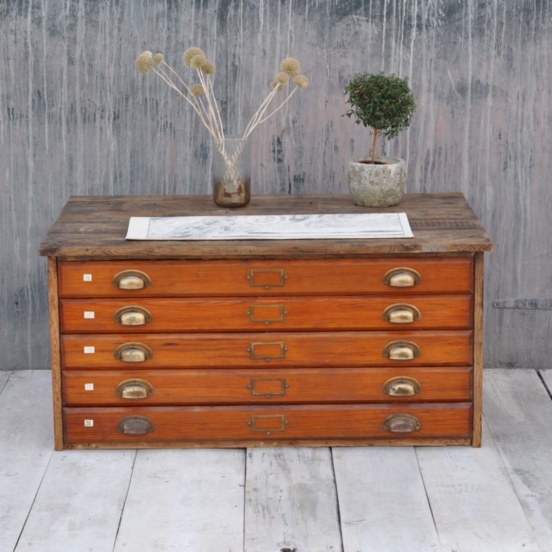 Wooden plan chest coffee table pine