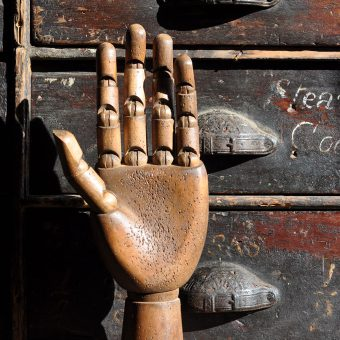 articulated artist's wooden hand model