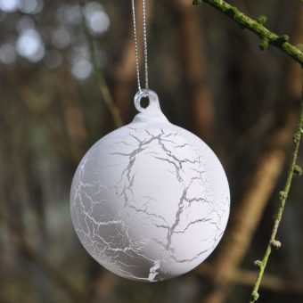 crackled finish white glass Christmas bauble
