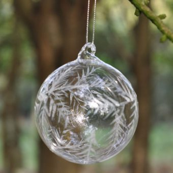 etched clear glass bauble Christmas decoration