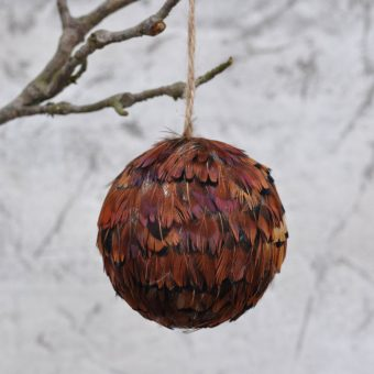 feather covered christmas bauble - brown pheasant