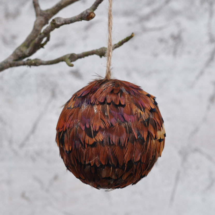 the latest 195f9 9d9b2 Feather covered Christmas bauble - brown pheasant