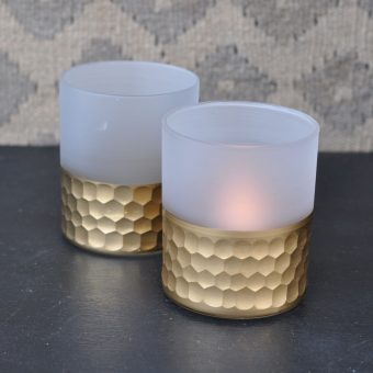 frosted glass | gold tealight votive