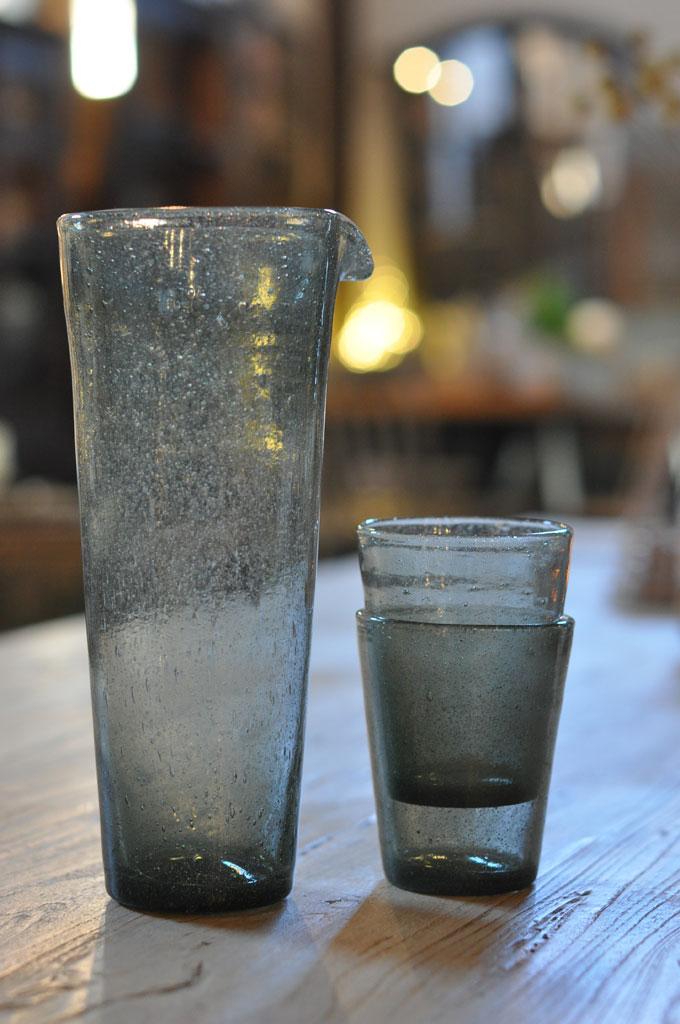 hand blown glass water jug or vase in grey