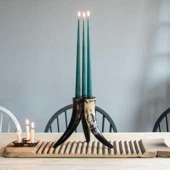 horn tripod taper candle candelabra