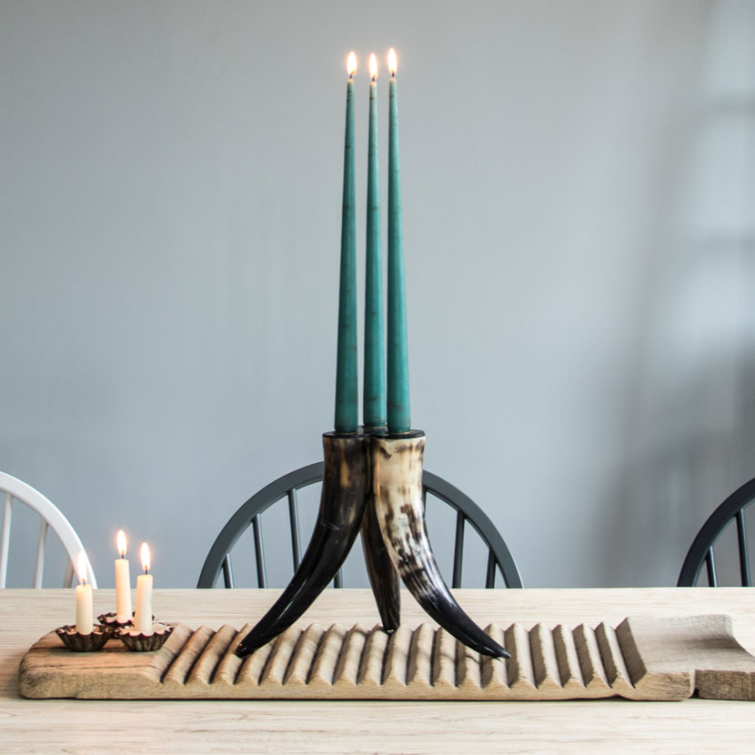 horn tripod taper candle candelabra