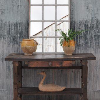 industrial vintage oak workbench console table