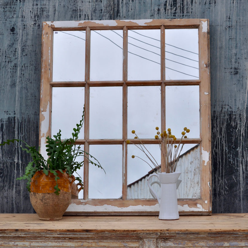 Industrial Vintage Wooden Window Mirror Home Barn Vintage