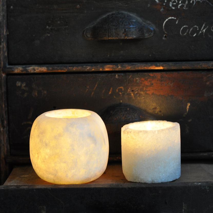 natural salt stone | alabaster tealight