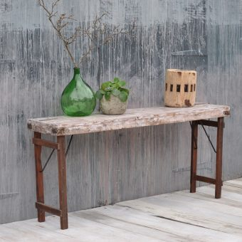 reclaimed industrial whitewashed console table