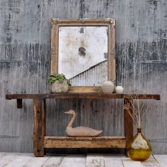 rustic industrial antique wood console