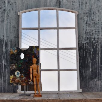 small industrial vintage window mirror