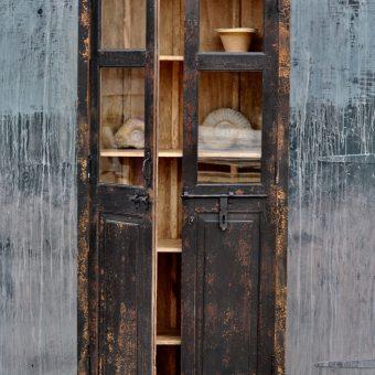 tall glazed vintage black cupboard