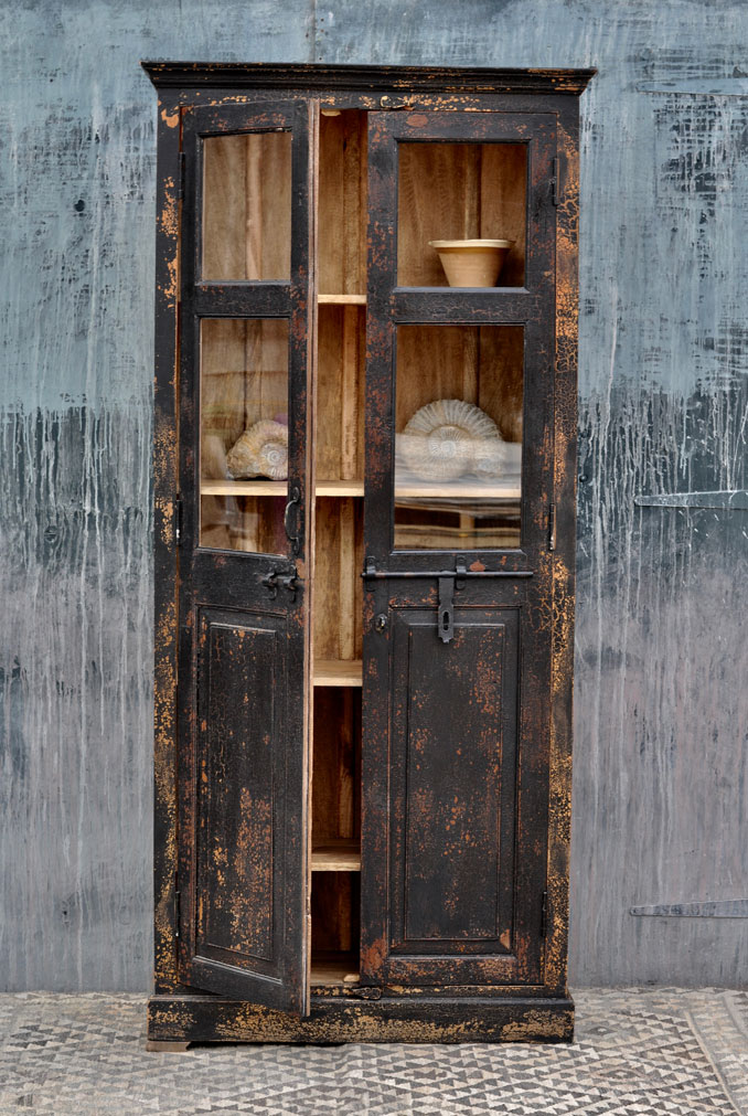 Tall Glazed Vintage Black Cupboard Home Barn Storage