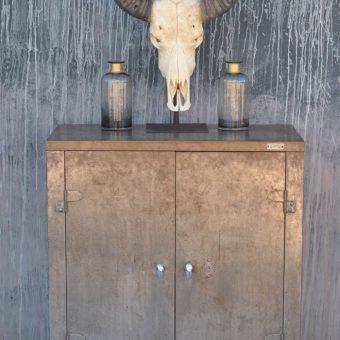 vintage industrial metal cabinet two doors