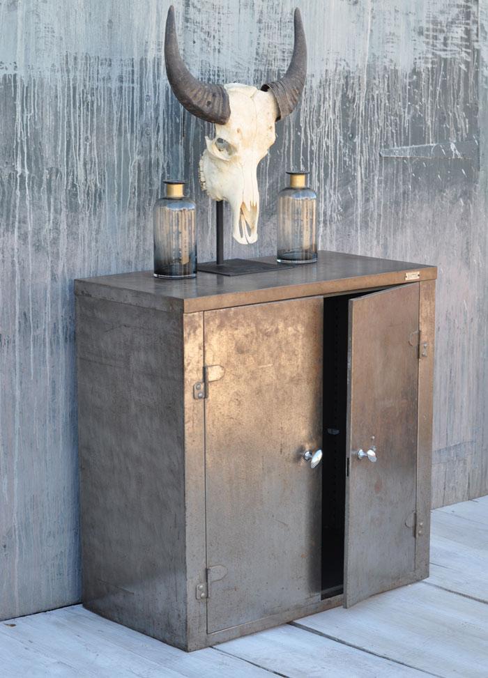 Vintage Industrial Metal Cabinet Two Doors Home Barn Vintage
