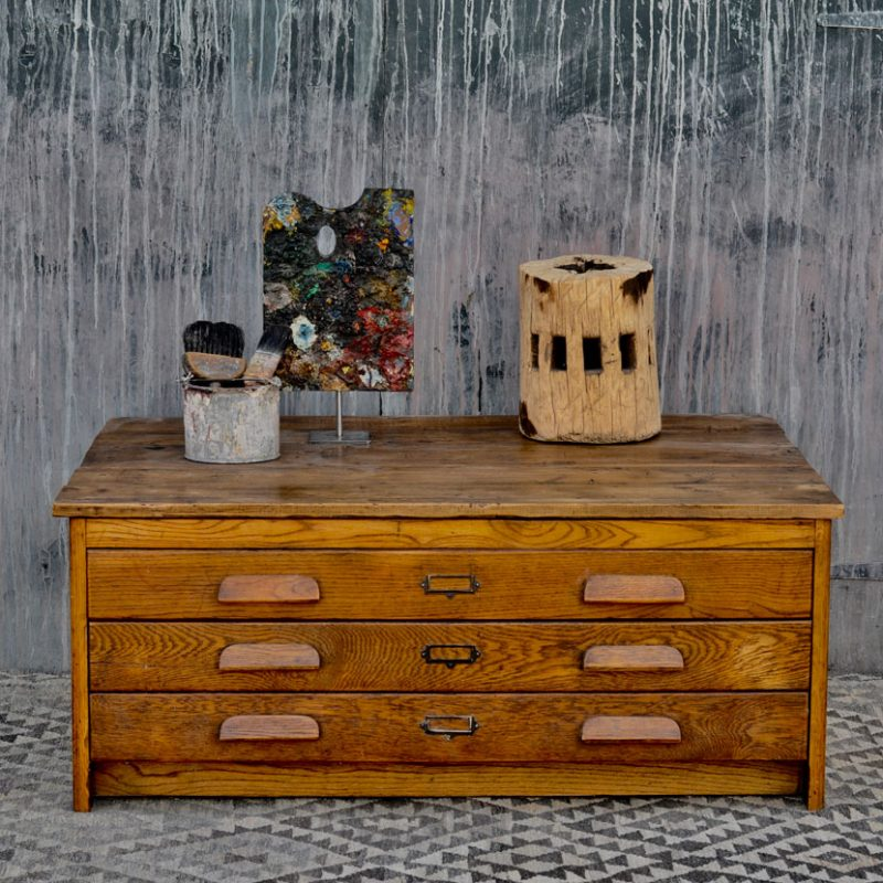 vintage plan chest coffee table | oak drawers