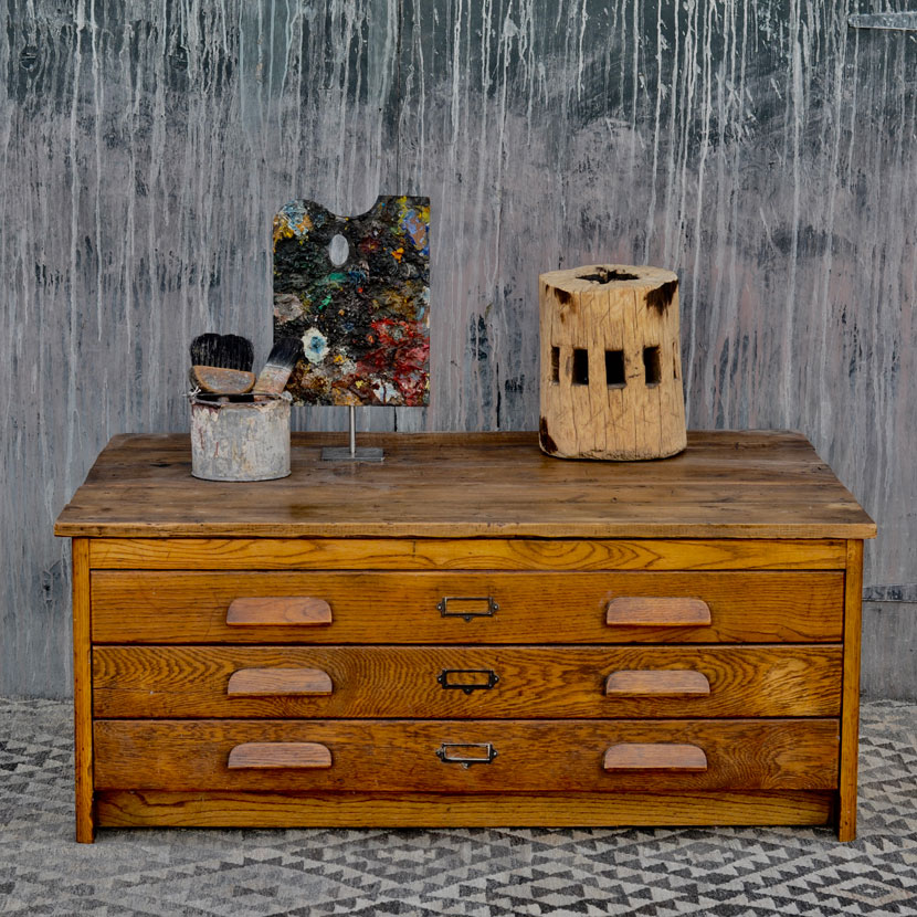 Antique Coffee Tables With Drawers: Vintage Plan Chest Coffee Table With Oak Drawers
