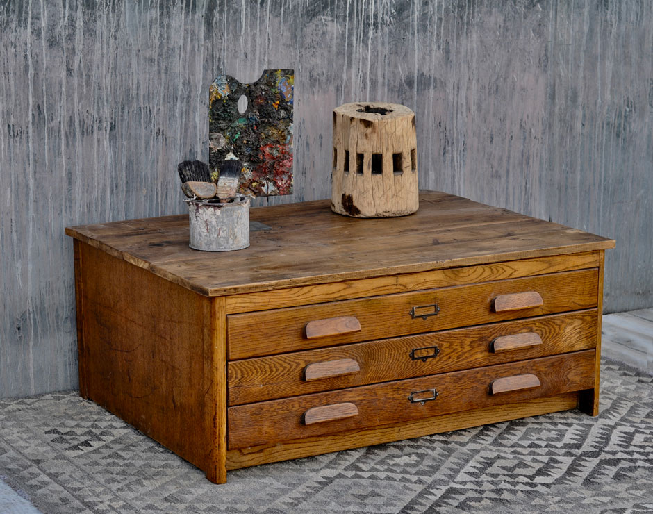 Vintage plan chest coffee table with oak drawers   Home Barn